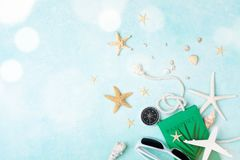 Summer holidays, vacation and travel background. Top view and flat lay stock photography
