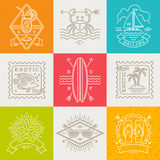 Summer holidays, vacation and travel emblems, signs and labels Royalty Free Stock Photo