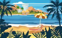 Summer holidays vacation umbrella beach chair seascape landscape ocean sea beach, coast, palm leaves. Tropical leaves. Time to travel ocean sea beach, coast stock illustration