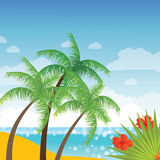 Summer holidays vector background with palm leaves, flowers and sea. Stock Photos
