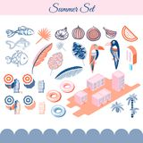 Summer holidays vector clip art objects. Pink and blue beach vacation objects Royalty Free Stock Image