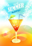 Summer Holidays Vector with Cocktail Royalty Free Stock Photo
