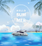Summer holidays vector illustration. Beach, beautiful pleasure boat, palm trees beautiful panoramic sea view, Vector. Royalty Free Stock Photography