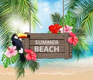 Summer holidays vector illustration. Beach, beautiful sailboat, palm trees, beautiful panoramic sea view, Vector. Summer holidays vector illustration. Beach Royalty Free Stock Photography