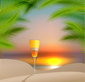 Summer holidays vector illustration with  cocktail Stock Photo