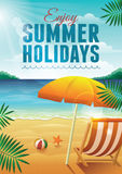 Summer Holidays. Vector illustration with deck chair, umbrella, beach ball, and starfish on the beach Stock Images