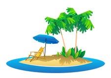 Summer holidays vector illustration,flat design beach Royalty Free Stock Image