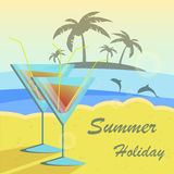 Summer holidays vector illustration set with Stock Photography