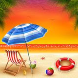 Summer Holidays with view sunset background stock illustration