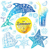 Summer holidays watercolor banners with tropical flowers and summer greetings - vector illustration. Summer holidays watercolor banners with starfish, dolphin Stock Photography