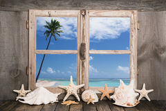 Summer holidays on the white sand beach - sea view. royalty free stock photography