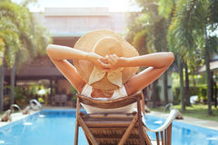 Summer holidays. Woman relaxing in luxury hotel, summer holidays Royalty Free Stock Photo