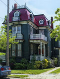 Summer home. Victorian house with lace railings for balconies Jersey shore stock photos