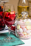 Summer home wine with fruits, sangria cocktail, murshmellows Royalty Free Stock Image