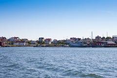 Summer homes on swedish coast. Scenic view of swedish summer homes on the west coast stock images