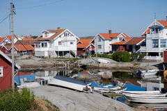 Summer homes on the swedish island of Käringön. Idyllic view over a part of the residential area stock image