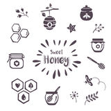 Summer honey icons Stock Photo