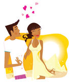 Summer Honeymoon in Egypt. Romantic desert travel. Young loving couple on honeymoon in Egypt. Vector Illustration stock illustration