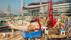Summer hong kong bay construction working panorama 4k time lapse china stock video