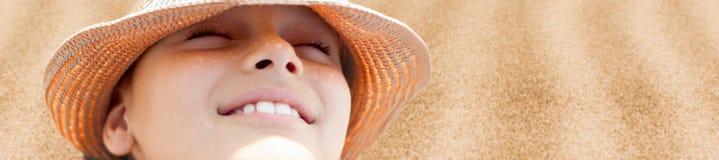 Summer hot background happy child face. Beach sunbathe Royalty Free Stock Image