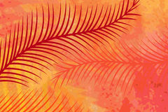 Summer hot background. Palm leaves over summerhot grunge background - heat concept Stock Photo