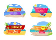 Summer Hot Sale Labels Set Tropical Beach, Palm Trees. On beach at coastline, best prices at summertime, discount 25 off best sale concept vector Stock Photo