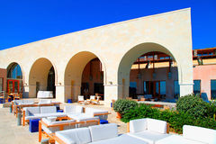 Summer hotel terrace, Crete, Greece. Royalty Free Stock Photography