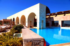 Summer hotel terrace with outdoor pool, Crete, Greece. Stock Photography