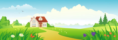 Summer house banner Royalty Free Stock Photos