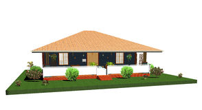 Summer House-Bungalow with Porch-3d. Little Summer House-Bungalow with garden Stock Photos