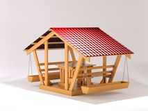 Summer house bungalow. Pergola made of wood with metal tile Stock Image