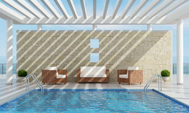 Summer house with pool Stock Photos