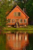 Summer House Reflection In River Water Stock Image