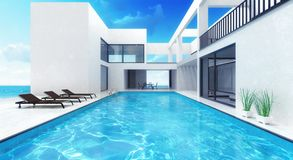 Summer house residence with swimming pool Royalty Free Stock Photos