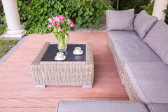 Summer house with wicker furniture Stock Images