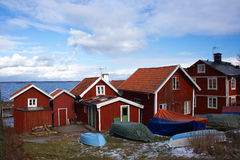 Summer houses in Sweden in the archipelago. Typical summer houses in Sweden on the archipelago island of Sandhamn Royalty Free Stock Image