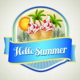 Summer ice cream badge Stock Photos