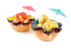 Summer ice cream in colored bowl Royalty Free Stock Image