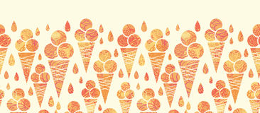 Summer ice cream cones horizontal seamless pattern Royalty Free Stock Photos
