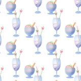 Summer Ice cream and drink seamless pattern Royalty Free Stock Photos