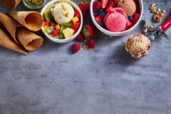 Summer ice cream with fresh fruit and nuts Royalty Free Stock Photos