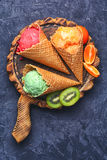 Summer ice cream with fruit Stock Images