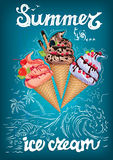 Summer is ice cream poster with sea. And sun Royalty Free Stock Photo