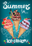 Summer is ice cream Poster with sign Stock Images