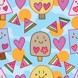 Summer ice cream stick watermelon around seamless pattern Royalty Free Stock Photo