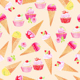 Summer icecream and cupcakes watercolor seamless vector pattern. Summer icecream and cupcakes delicious dessert watercolor seamless vector pattern Stock Photos