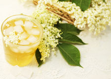 Summer iced tea. A cold refreshing summer drink made from elder flowers stock photos