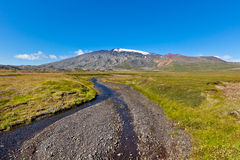 Summer Iceland Landscape with Mountains and Small River Stream Royalty Free Stock Photos