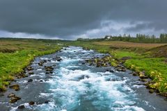 Summer Iceland Landscape with Raging River Royalty Free Stock Photography