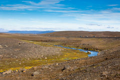 Iceland Landscape with River, Mountains and Bright Blue Sky Stock Photography